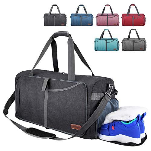 CANWAY Faltbare Reisetasche Leicht Sporttasche mit Abnehmbar Schulterriemen & Schuhfach Reisegepäck für Reisen Sport Gym Urlaub (Schwarz, 65L)