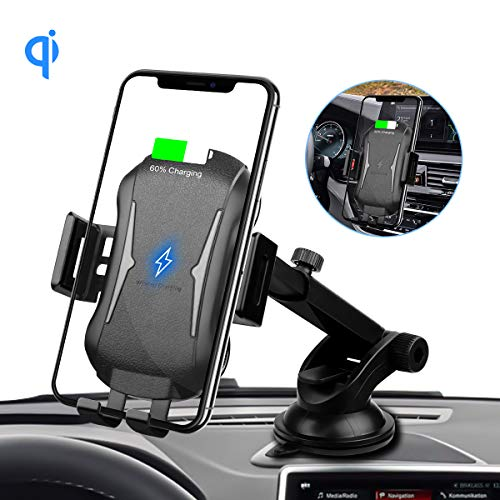 Auto Clamping Wireless Car Charger, 10W/7.5W Qi Fast Charging Car Mount,Windshield & Dashboard Air Vent Phone Holder Compatible with iPhone Xs/Xs/Max/XR/X/8/8Plus,Samsung S10+/ S10/ S9+/S9/S8/S7&More