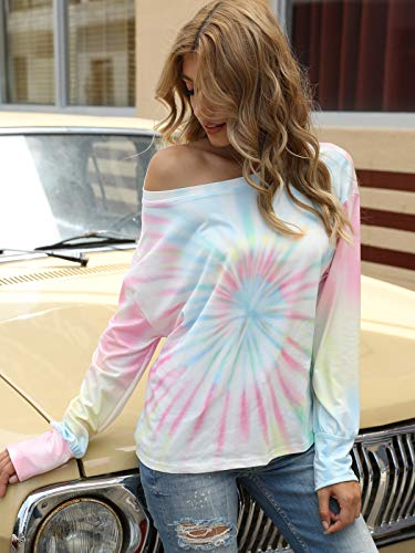 Women's Tie Dye Printed Long Sleeve Sweatshirt Round Neck Casual Loose Pullover Tops Shirts
