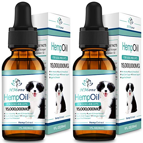 HMone Max Potency Organic Hemp Oil for Dogs and Cats 15,000,000 - Anxiety, Pain, Arthritis Relief for Pets - Calming Aid - Rich in Omega 3, 6, 9 & Vitamin C, E (2 Pack)