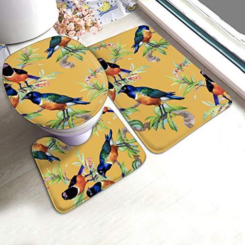 N/R Tropische Aquarel Bloemen Vogels Oranje U-Shaped Toilet 3 Stuk Badmat Set Badkamer Tapijten Tapijt Matten Antislip Voor Indoor Contour Tapijt Gepersonaliseerd