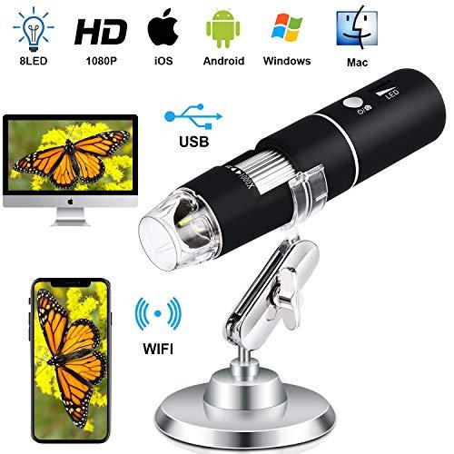 Wireless Digital Microscope Handheld USB Magnification Microscope Camera 50-1000X Zoom 1080P 2.0 MP Mini WiFi Microscope Portable Pocket Microscope 8 LED for Android Phone iPhone Table Windows Mac
