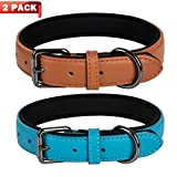 Coohom 2 Pack Genuine Leather Soft Waterproof Fabric Padded Dog Collars,Durable Adjustable Leather Pet Collars for Small Medium Large Dogs Black Red Blue Orange Yellow Brown (Large, Blue+Brown)
