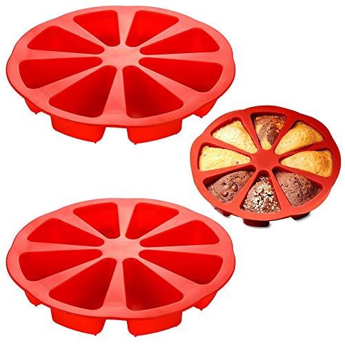 SZWL 2PCS Moules à Pâtisserie Moule, Silicone Bake Ware Grand Moule pour Moule à gâteau à cavité carrée de 8 Triangles, 27x27x5 cm(Rouge)