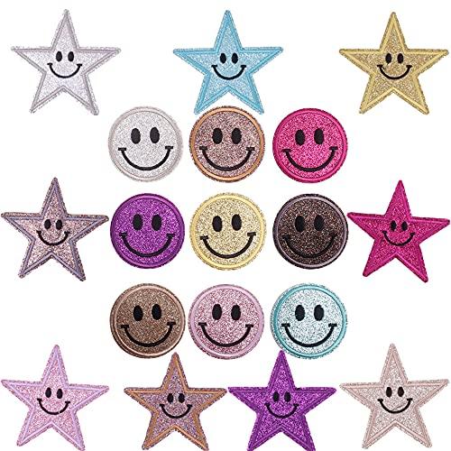 Juego de 18 parches de estrella para planchar, pequeños, redondos, para manualidades, con cara sonriente, para planchar, para niños, para vaqueros, mochilas, sombreros y vestidos