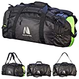 Duffel Dry Bags Waterproof for Sailing Backpack Boating Luggage Team Bag (Black/Fluorescent, 50L)