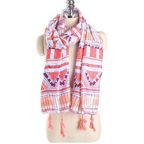 CMOIR Bufanda de Seda Floral Patrón geométrico Bufanda con Flecos Bufanda de Seda Grande para Mujer Bufanda de Mujer de algodón Chal Impreso Bufanda Liviana de Las Señoras