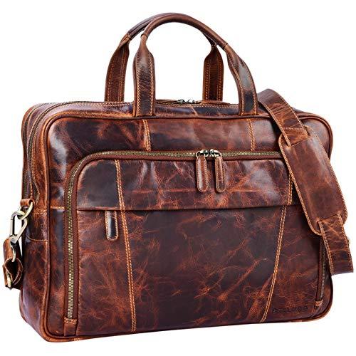 STILORD 'Jaron' Vintage Ledertasche Leder Herren Damen 15,6 Zoll Laptoptasche Umhängetasche groß Aktentasche Arbeit Büro Uni echtes Rindsleder, Farbe:Kara - Cognac