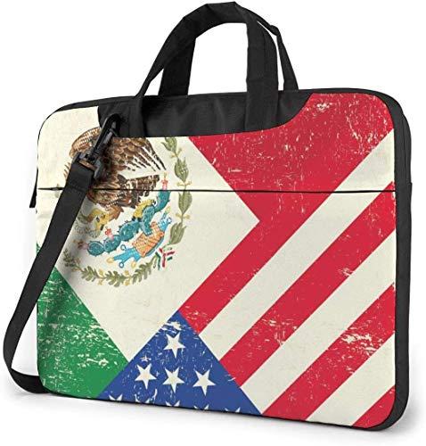 15.6 Inch Funda Bandolera Maletín para Portátil Maletín de Hombro para Negocio Viaje Bandera de México México Estados Unidos América