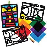 Baker Ross Kits Decoración Efecto de Vidrio Vida de Mar AT865 (paquete de 6) para proyectos de arte y manualidades para niños, surtidos