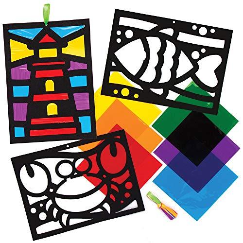 Baker Ross Strand Glas in Lood Decoraties (6 stuks) Knutselspullen en Knutselsets voor Kinderen