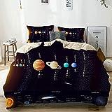 Juego de funda nórdica beige, sistema solar detallado con información científica Telescopio Júpiter Saturno Universo, juego de cama decorativo de 3 piezas con 2 fundas de almohada Easy Care Anti-Alérg
