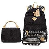 Neuleben Schulrucksack + Kühltasche + Mäppchen Schultaschen 3 Set aus Canvas für Jungen Mädchen Schule Freizeit (Schwarz) - 2