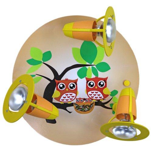 Elobra-Leuchten 128268 - Lámpara infantil de 3 focos, diseño de búhos