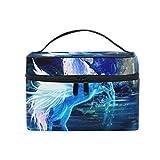 ISAOA Bolsa multifuncional de maquillaje azul unicornio neceser de viaje cosméticos bolsa de almacenamiento bolsa de cepillo bolsa de lavado portátil bolsa de viaje maquillaje bolsa para mujeres niñas