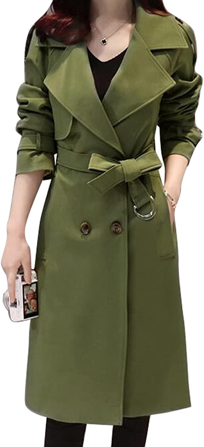 WAYA Womens Lapel Slim Double Breasted Belted Long Trench Coat