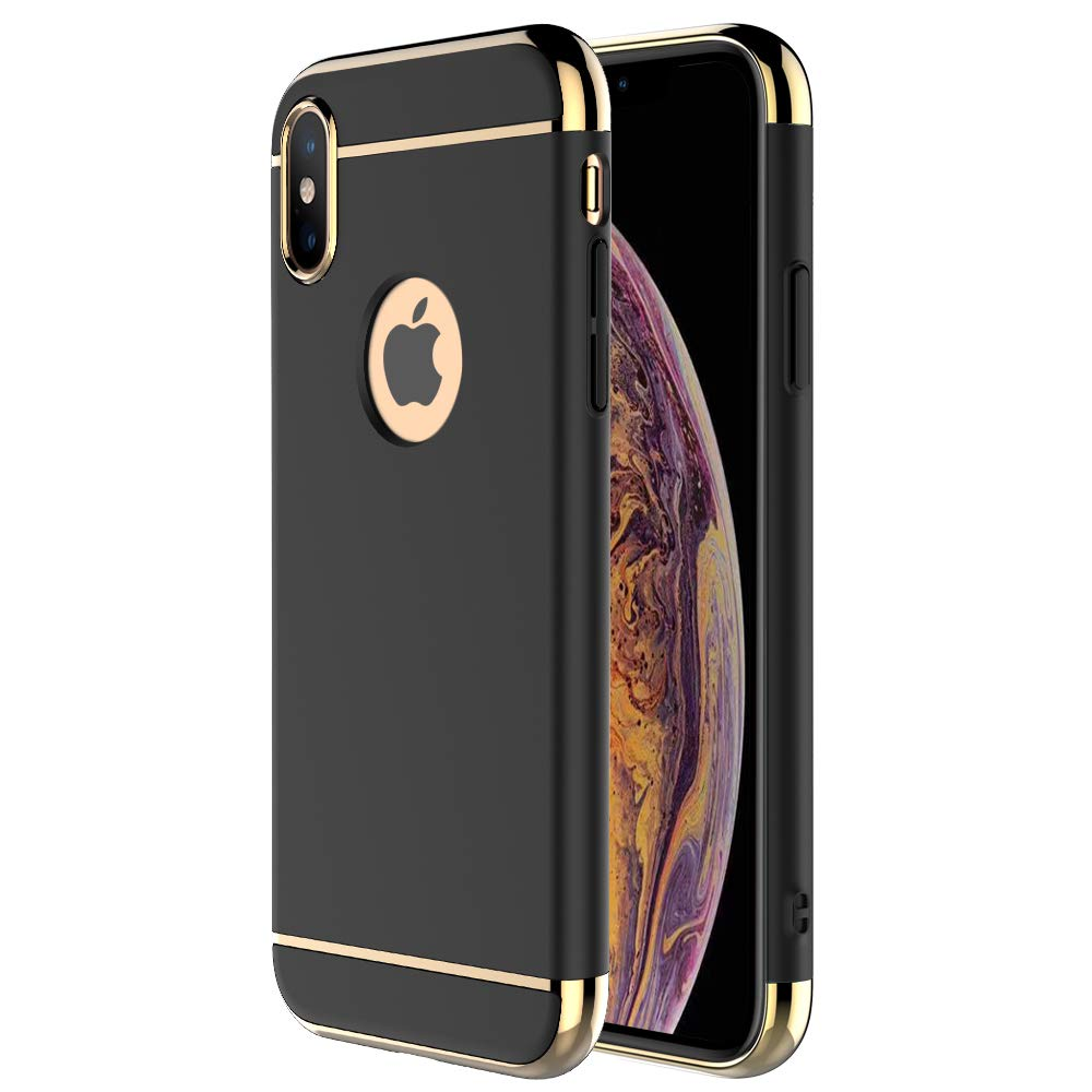 iPhone X Case,iPhone Xs Case,RORSOU 3 in 1 Ultra Thin and Slim Hard Case Coated Non Slip Matte Surface with Electroplate F...