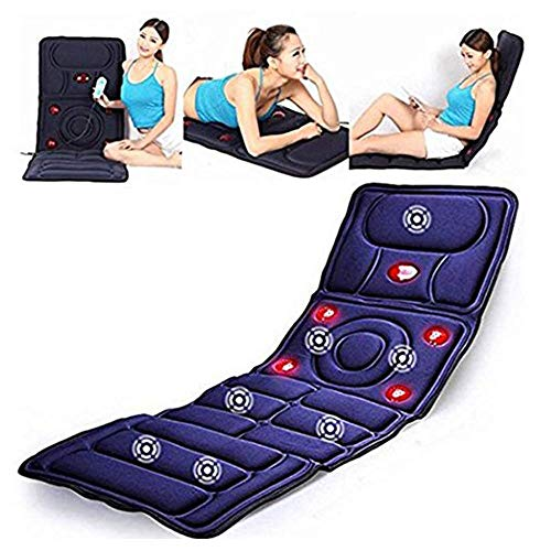 Massage Mat with 10 Vibrating Motors and 5 Therapy Heating Pad Full Body Massager Cushion for Relieving Back Hip Lumbar Leg Pain,Dark Blue