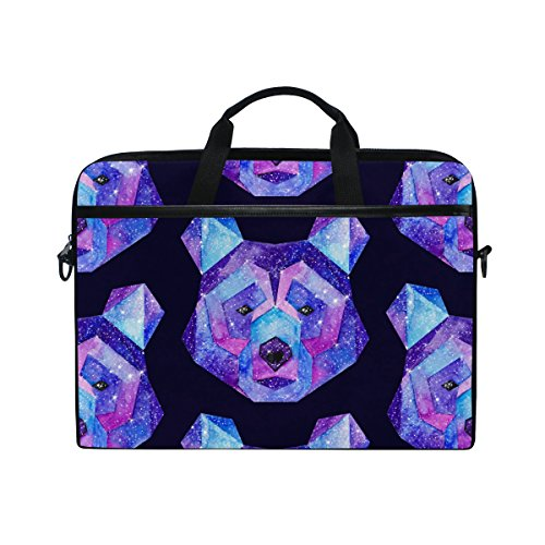 Laptop Case, Galaxy Panda Personalised 3D Printed with 3 Compartment Shoulder Strap Handle Canvas Notebook Computer Bag Perfect for 13 13.3 14 15 inch