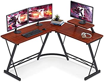 ODKL Shaped Desk Home Office Desk with Round Corner Computer Desk