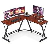 L Shaped Desk Home Office Desk with Round Corner Computer Desk with Large Monitor Stand Desk Workstation, Teak