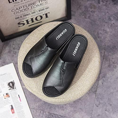 Pantofole Floreali estive,Pantofole di Fondo Spessore della Femmina, Sandali della Spiaggia del Tacco Alto della Parola-Nero_37,Scarpe estive durevoli