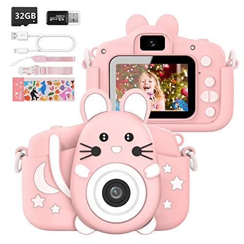 Hangrui Appareil Photo pour Enfant,2.0 Pouces Enfant Appareil Photo Numérique,20M/1080P Caméra avec Objectif Avant et Arrière,32G SD Carte, Lecteur de Cartes,Ligne USB,Autocollant -Rose