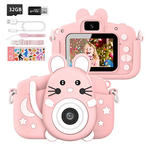 Hangrui Kinderkamera,Digitalkamera Kinder Selfie Fotoapparat Kinder mit 2,0-Zoll-Großbildschirm 1080P HD 20MP Eingebaute 32GB SD-Karte Kamera Kinder für 3-12 Jahre Geburtstag Kinder(Rosa)