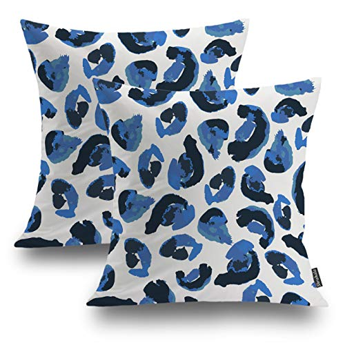 Shrahala Watercolor Tribal Decorative Pillow Covers 18x18 Set of 2, Animal Print Leopard Spots Blue Black Cushion Case for Sofa Bedroom Car Throw Pillow Covers, Square 18 Inches, Blue Leopard Spots