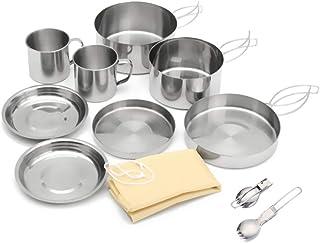 BRIDGEGUO [10Pcs] Picnic Camping Pot Camp Cookware Pan Camp Kitchen Outdoor Cook Cooking Kettle Boiler Stainless Steel Hik...