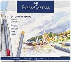 Faber-Castell 114624 - Estuche de metal con 24 ecolápices acuarelables hexagonales Goldfaber Aqua, colores surtidos