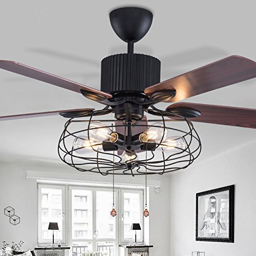 Sweety House 52'Retro Ceiling Fan Chandelier, With Remote...