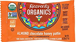 Heavenly Organics Almond Chocolate Honey Patties, (40 Singles) Made with 100% Organic Cocoa and 100% Organic Raw White Hon...