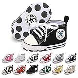 Baby Girls Boys Shoes Soft Anti-Slip Sole Newborn First Walkers Star High Top Canvas Denim Unisex Infant Sneaker (A01-Black, 6-12 Months)