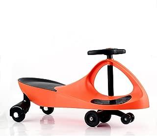 Apelila Wiggle Car Ride On Toy Twist Go Swivel Scooter Swing Gyro Car, for Kid Child (Orange)