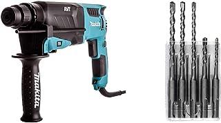 Makita HR2631F/2 SDS Plus Rotary Hammer, 26mm, 240V & D-03888 SDS Plus Drill Performance Set (5-Piece) - Silver