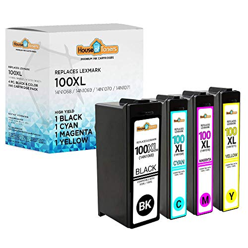 Generic Replacement Ink Cartridges 4(1xBlack,1xCyan,1xMagenta,1xYellow)Compatible with Lexmark 100XL Lexmark 105XL Pack of 4