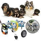 Zouminy Pet Wheelchair, Four Wheels Adjustable Dog Wheelchair Fore-Leg Rehabilitation Cart Paralyzed Pet Walk Assistant
