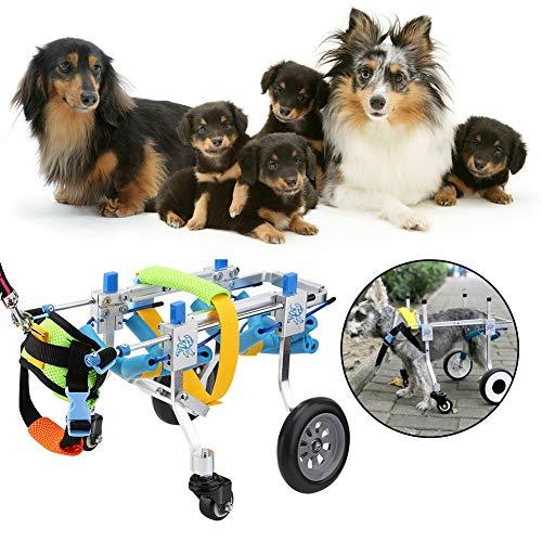 YOUTHINK Silla de Ruedas Ajustable para Perros de Cuatro Ruedas Carrito de Aleación de Aluminio XXS para Patas Traseras Rehabilitación Perros Pequeños Gatos Caminar