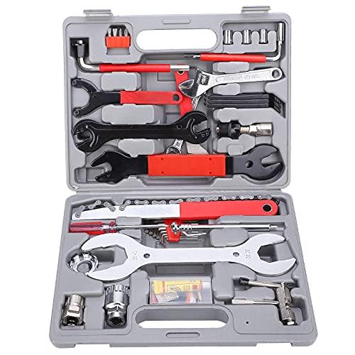 Juego de herramientas de reparación de bicicletas, 44 piezas de herramientas de reparación de bicicletas multifuncionales, juego de herramientas de mantenimiento de bicicletas profesionales con caja