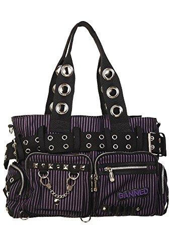 Banned Damen Handtasche mit Handschellen-Details, Rockabilly-Look, Leinwand, violett - violett - Größe: Large