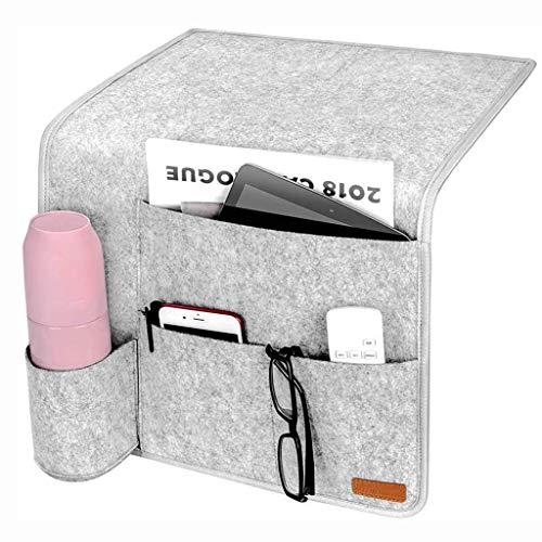 WCY Bolsillo de Almacenamiento en la Cama, con Fieltro más Grueso, inserte un Organizador Colgante de sofá, para carriles para Cama para Casas, sofá, literas yqaae (Color : Gray)