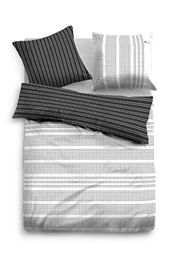 TOM TAILOR 0069835 Bettwäsche Garnitur mit Kopfkissenbezug Baumwoll-Satin 1x 155x200 cm + 1x 80x80 cm black