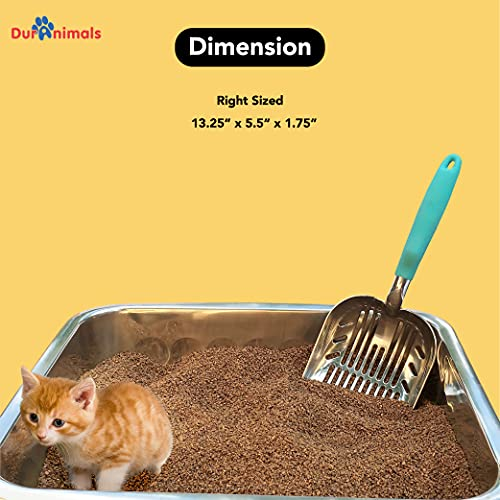 DuraScoop Jumbo Cat Litter Scoop, All Metal End-to-End with Solid Core, Sifter with Deep Shovel, Multi-Cat Tested Accept No Substitute for the Original (colors may vary)
