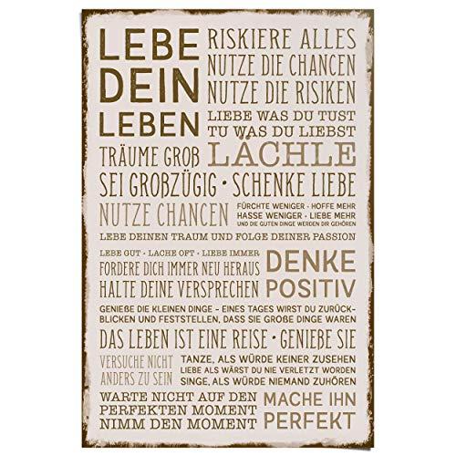 REINDERS Denke positiv Poster - Papier - Groß Format 61 x 91,5 cm - Braun