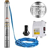 BuoQua Submersible Deep Well Pump 220V Stainless Steel Well Pump 0.75HP Electric Deep Well Water Pump