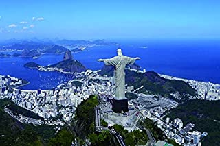 Brazil rio de janeiro christ the redeemer top view- Nature Art Poster Print on Canvas 16x24in (P-1000035)
