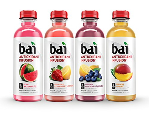 Bai Flavored Water Oasis Variety Pack Antioxidant Infused 18 Fluid Ounce Bottles 12 Count 3 each of Burundi Blueberry Lemonade Sao Paulo Strawberry Lemonade Kula Watermelon Malawi Mango