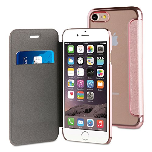 Muvit Life Bling Folio - Funda para iPhone 8 Plus/7 Plus, Transparente con Marco Color Rose Gold