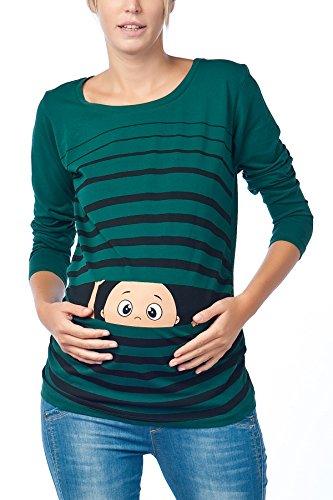 Vêtement de Maternité Humoristique T-Shirt Mignon à Motifs Cadeau pour Grossesse Femme Humour Tee Haut Vetement de Maternite à Manches Longues (Vert foncé, Large)